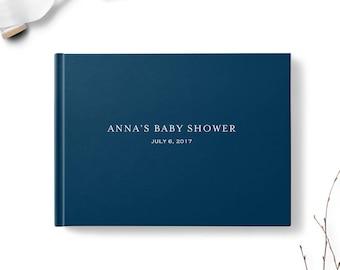 Navy Blue Baby Shower Guest Book, Landscape, Guest book, Various colors gb0125
