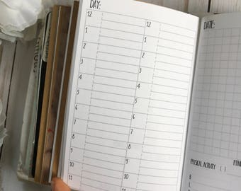 DAILY Day on 2 pages with 24 Hours + Wellness Tracker Pocket TN Planner Inserts