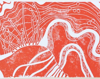 linocut - DRIFTLESS DREAM // 5x7 art print // printmaking // block print // orange // contemporary // original art // nature art // 4x6