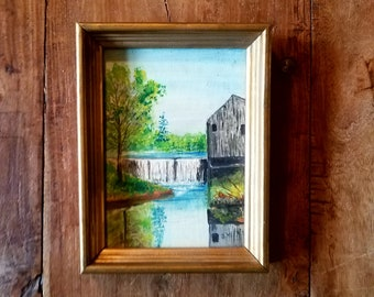 Antique Oil Painting of Old Salt Mill Stroudwater Maine, Original Art, Maine Art, Stroudwater Maine