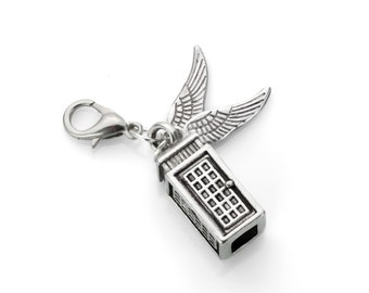 Police Box Charm With Wings - For Charm Bracelets, Backpacks, Keychains, Zipper Pulls, & More!