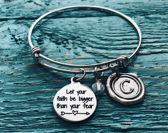 Let your faith, be bigger than your fear, Christian, Cross,  Silver Bracelet, Fighter, Encourage, Inspire, Graduation, Cancer, Break up