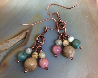 Multi Color Jasper  Dangle Earrings Antique Copper Hammered Wire Wrapped   1.99 Shipping USA