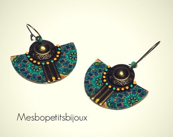 Blue and yellow Bohemian style earrings, half moon, mandala