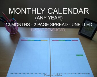 Calendar - Any year Unfilled (blank),12 months each 2 page spread, Potrait, Printable Planner PDF, Daily Planner Pages, Instant Download