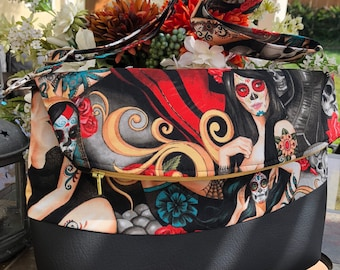 La Calavera, Tattooed Ladies, Foldover Crossbody, Handbag, Pinup, Rockabilly, Day of The Dead, Shoulder Bag, Messenger, Skull, Birthday,