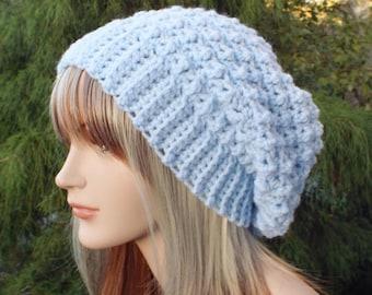 Light Blue Crochet Hat, Slouchy Beanie for Women, Slouchy Hat, Oversized Slouch Beanie, Chunky Hat, Winter Hat, Slouch Hat
