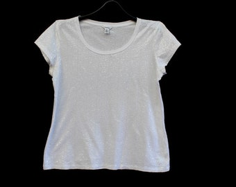Women's vintage white glittery Calvin Klein t shirt embroidered with scales cotton