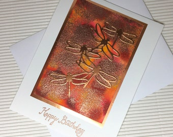 Happy birthday dragonfly card handmade stamped orange red blank stationery greeting card party supplies paper