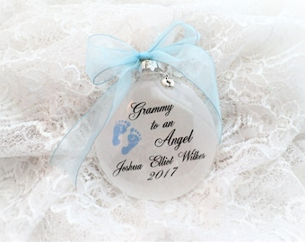 Baby Loss Miscarriage Christmas Memorial Ornament, Grammy to an Angel, Free Personalization and Charm