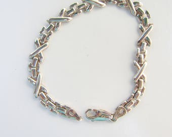 "Sterling Silver Panther Chain and X's Link Bracelet - 7 1/2""     1860D"