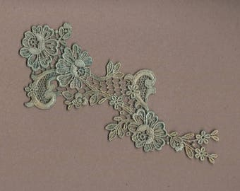 Hand Dyed Floral Venise Lace Applique  Aged Turquoise Bliss