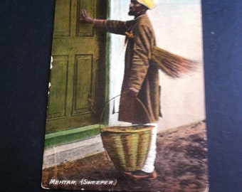 Vintage Postcards From India pre 1900s Occupants of India Original Colour Postcards of the life and lifestyle in India. Mehtar a Sweeper