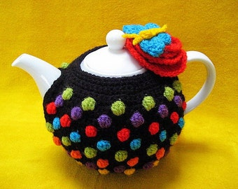 Tea Cosy Polka Dots Flower Multi Colour Crochet PATTERN PDF Teacosy