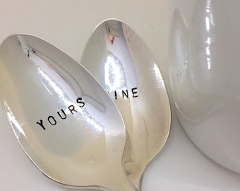 Yours and Mine spoons. Hand stamped spoon. Tea spoon. Coffee spoon.