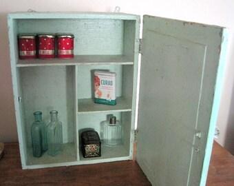 Primitive Medicine Chest, Bathroom Cabinet w/Mirror, Farmhouse Cupboard, Green Cupboard, Apothecary Cabinet, Old Cupboard