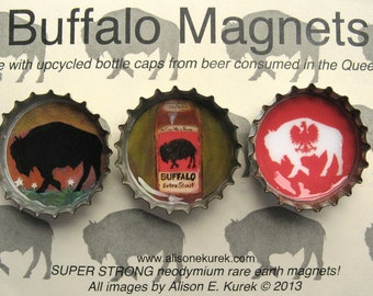 Buffalo Magnets with Polish Falcon - Buffalo NY Magnet Set - Buffalo Bottle Cap Magnets - Packaged Gift Set of 3 - Buffalo NY - Buffalo Gift