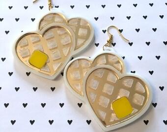 Heart Waffle Earrings, Laser Cut Acrylic, Plastic Jewelry