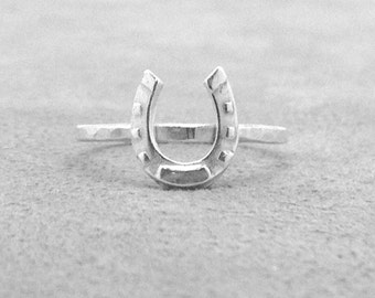 Sterling Silver Horseshoe Ring, Stacking Ring, Sterling Silver Stacking Rings, Horseshoe Jewelry, Horse Ring, Horse Jewelry, Sterling Silver