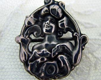 Art Nouveau Lady Pin Ca 1900 - Tiny!
