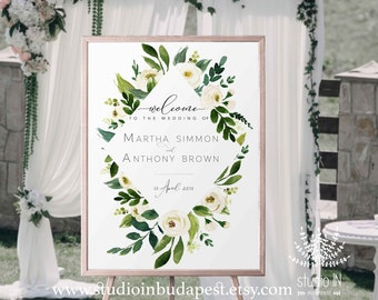 Welcome Sign, Wedding Welcome Sign, green Wedding Sign, white rose Reception Sign, white floral wedding poster, PRINTABLE