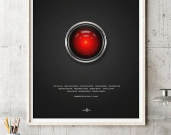 2001: A Space Odyssey Film Poster Art Print, 2001 Film Poster, Arthur C Clarke, Minimalist Movie Poster, Stanley Kubrick, Hal 9000