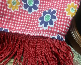 Retro Red Checked Flowered Tablecloth with Tassles