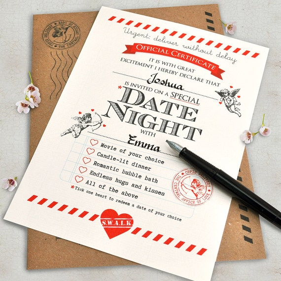 Boyfriend gift Boyfriend Birthday card Date Night ideas