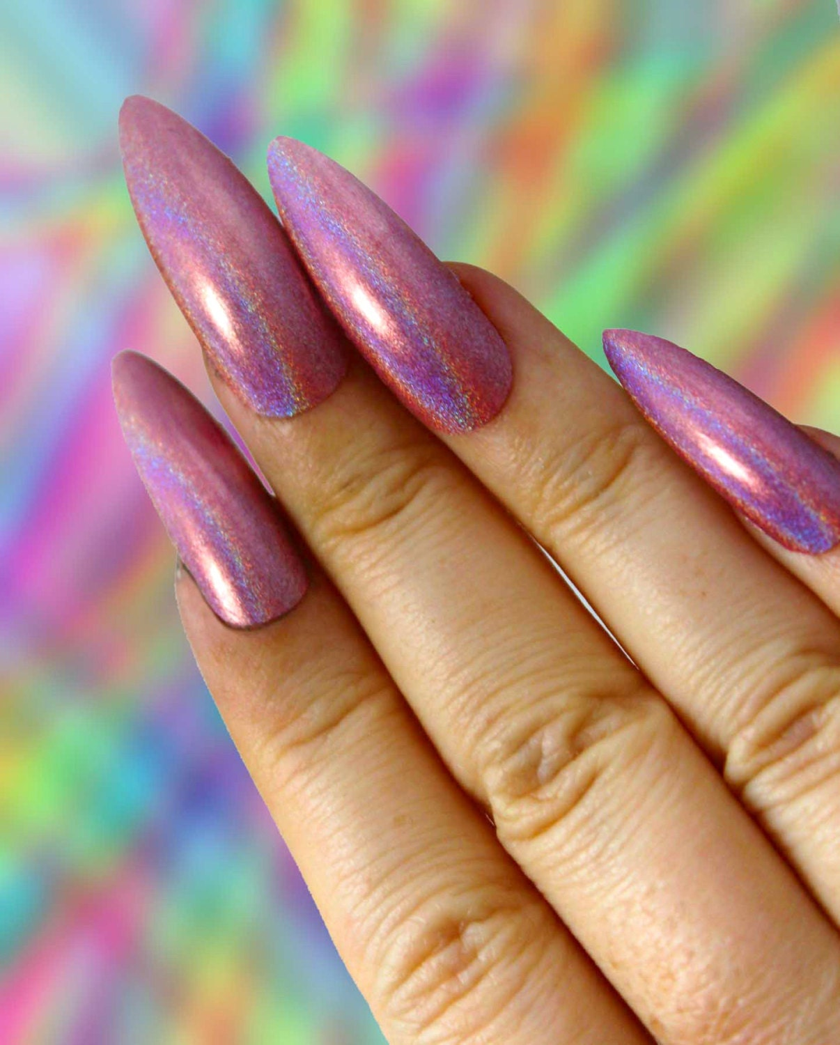 Pink Holo Press On Nails | Coffin Stiletto Square Oval Nails | Extra ...