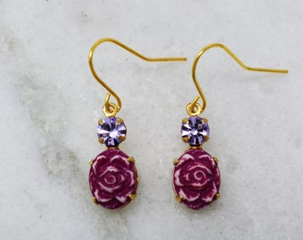 Rose etched ceramic bead earrings