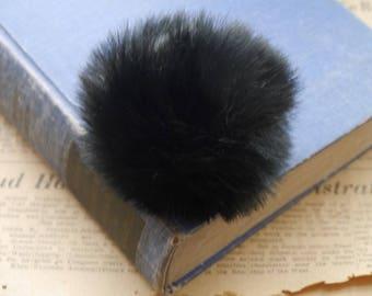 "2 Black Pom Poms with Ring 80mm Hat Pom Pom Ball Accessory Decoration (3 1/8"") (PP3390)"
