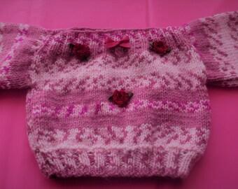 Baby Sweater/Jumper 0-3 months - Hand knitted - Baby Girls - Newborn