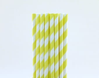 Light Yellow Striped Paper Straws-Striped Straws-Lemonade Drinking Straws-Light Yellow Straws-Twin Baby Shower Straws-Summer BBQ Straws