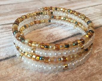 Gold and White Bracelet, Memory Wire Bracelet, Beaded Bracelet, Wrap Bracelet, Gift For Her