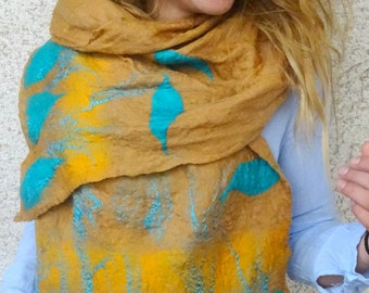 fashionable  scarf felted shawl handmade wrap, caramel shawl  turquoise scarf Lightweight shawl fashionable wrap  accessory perfect gift