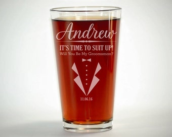Suit Up Groomsman, Suit Up, Groomsmen Pint Glass, Personalized Pint Glasses, Wedding Party Pint Glasses, Beer Pint Glasses, Wedding Favor