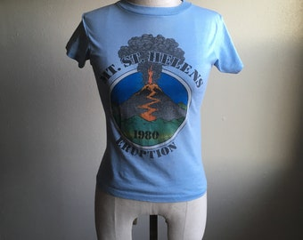 vintage 1980 mount st. helens eruption j bates super shirt hanes fifty fifty combed t shirt made in usa
