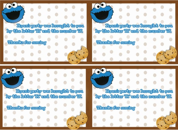 Cookie monster labels party food labels sesame street like this item bookmarktalkfo Choice Image