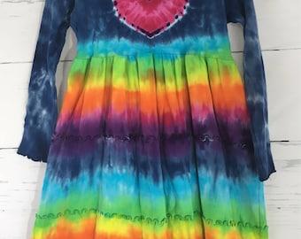 Girls 6T Rainbow Heart Tie Dye Tiered Ruffle Dress