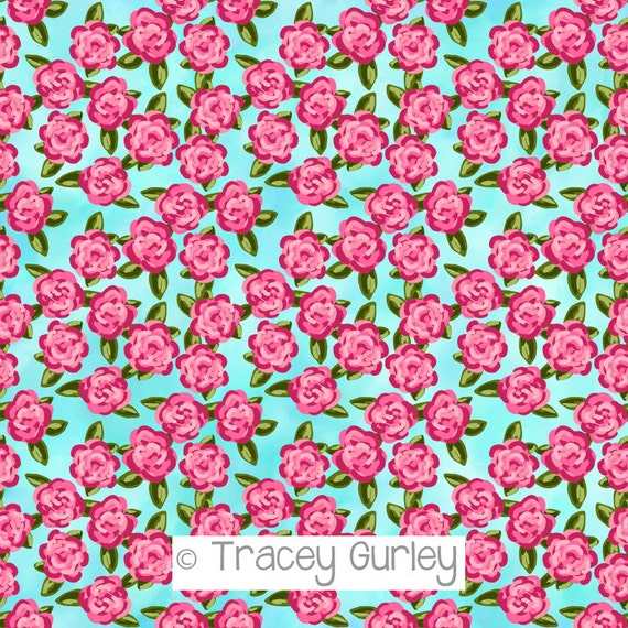 Preppy Pink Roses On Turquoise Background Pink Roses Flower
