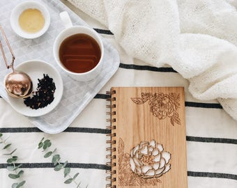 Peonies Journal, Wooden Journal