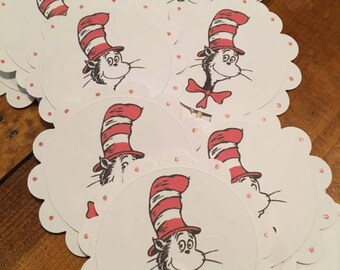12 Dr Seuss Cat in the Hat Cupcake Toppers