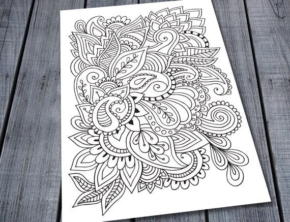 Paisley Doodle Erwachsenen Färbung Seite druckbare Muster