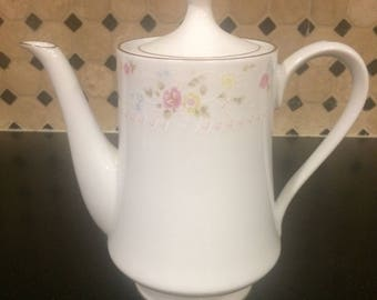 Jamestown China Teapot Vintage 1960's white w/ gold trim and pastel flowers