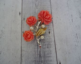 Vintage Celluloid Coral Color Flower and Faux Pearl Brooch w/ Stem and Leaves, Silver Tone Metal, Floral Motif Pin
