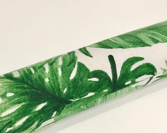 Draft Stopper COVER. Door or window Snake. Light & Noise Stopper. Green Bahamas Palm Leaves fabric. Draught Stopper Made Australia. UNFILLED