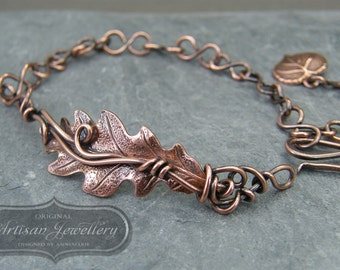 Adjustable oak leaf bracelet ~ Nature inspired gift for her ~ Leaf jewellery ~ Nature jewellery valentines gift for girlfriend ~ Bohemian ~