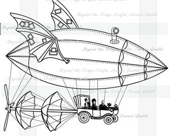Steampunk Airship Digital Stamp