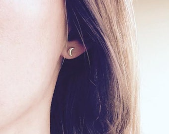 Gold Moon Earrings, Gold Crescent Earrings, Tiny Moon Studs, Gold Crescent Studs, Second hole Earring, 14k Solid gold