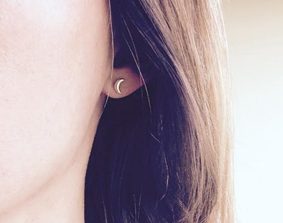 gold moon earrings gold crescent earrings tiny moon studs